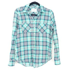Aeropostale Eighty-Seven Blue Plaid Button Up Top